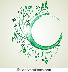 Abstract banner with curls of green color