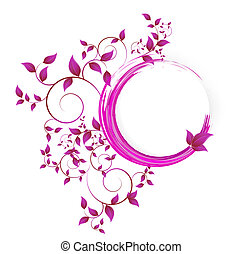 Abstract banner with curls of pink color