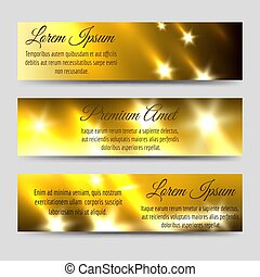 Abstract banners collection with golden flashes