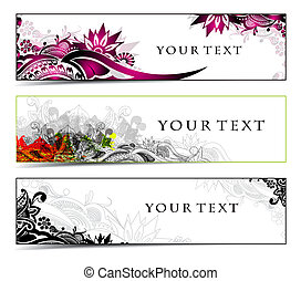 Abstract banners on floral themes, multi-coloured, vector ...