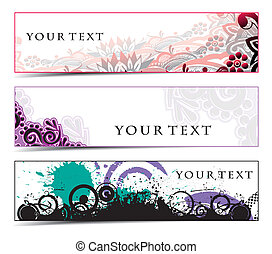 Abstract banners on grunge themes, multi-coloured, vector...