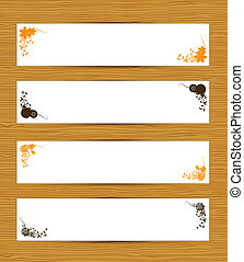 Abstract banners on wooden background