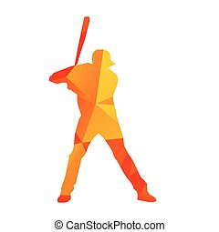 Abstract baseball player silhouette