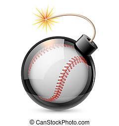 Abstract baseball shaped like a bomb. Illustration on white...