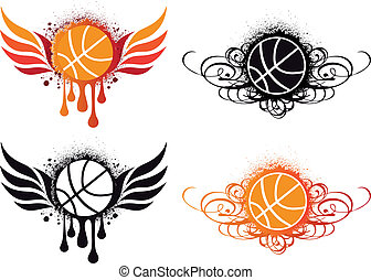 abstract basketball, vector - basketball with fire wing and...