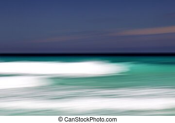 Abstract beach, done with long exposure and camera movement, in Pennington Bay on Kangaroo Island, South Australia, Australia.