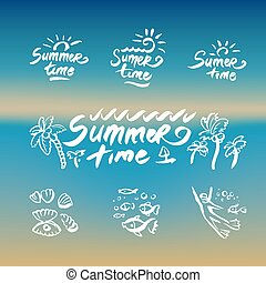 abstract beach waves design on the theme of summer delights concept organization of beach parties and vector logo design template