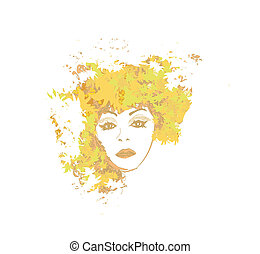 Abstract Beautiful autumn Woman portrait