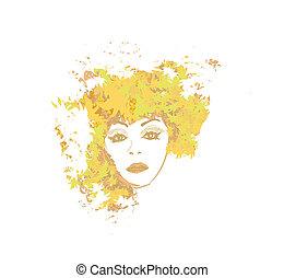 Abstract Beautiful autumn Woman portrait