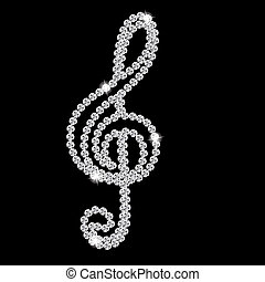 Abstract beautiful black Diamond Music Note vector...