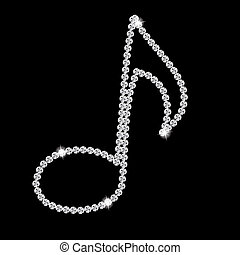 Abstract beautiful black Diamond Music Note vector...