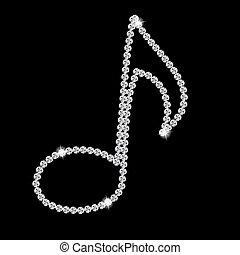 Abstract beautiful black Diamond Music Note vector illustration