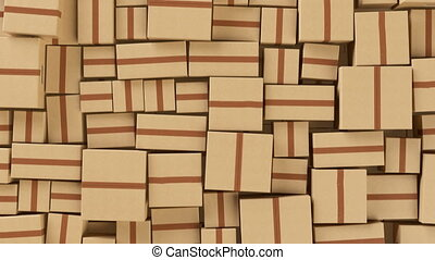Abstract Beautiful Cardboard Boxes Wall Seamless. Looped 3d...