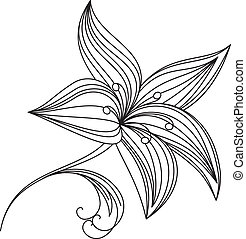 Abstract beautiful flower of lily. Illustration on white...