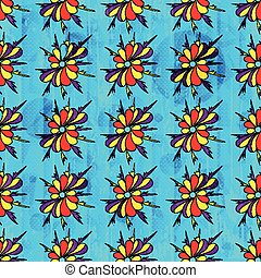 Abstract beautiful flowers on blue background seamless pattern