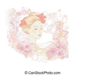 Abstract Beautiful geisha doodle Portrait