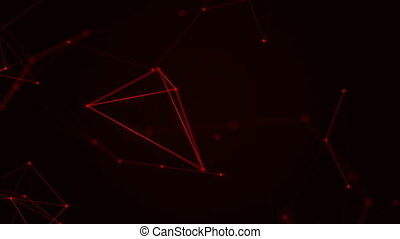 Abstract beautiful geometric background with moving lines, dots and triangles. Plexus fantasy abstract technology. Loop animations.