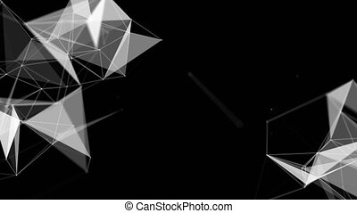 Abstract beautiful geometric background with moving lines, dots and triangles. Plexus fantasy abstract technology Green Screen Alpha Matte Loop Aniamtion Background