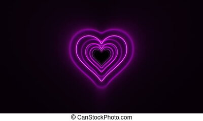 Abstract Beautiful Heart Tunnel with Neon Light Lines Moving...