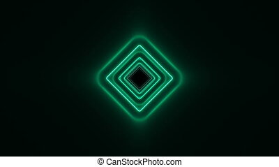Abstract Beautiful Square Tunnel with Neon Light Lines Moving Fast. Green Bright Colors. Background Futuristic Tunnel with Glowing Lights. Looped 3d Animation Art Concept. 4K Ultra HD