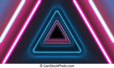 Abstract Beautiful Triangle Tunnel with Neon Light Lines...