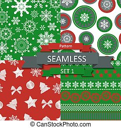 Abstract Beauty Christmas and New Year Seamlss Pattern Set,...