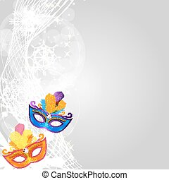 Abstract Beauty Merry Christmas and New Year Party Background with Masquerade Carnival Mask. Vector illustration