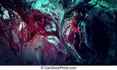 abstract, beauty, van, kunst, inkt, verf , ontploffen, kleurrijke, fantasie, propageren