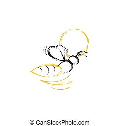 Abstract bee crayon style icon vector design image illustration
