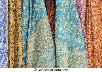 abstract, beeld, van, helder gekleurd, sjaals