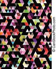 abstract, behang, black , driehoeken, kleurrijke