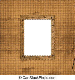 Abstract beige background and victorian frame with floral ornament