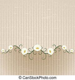 Abstract beige floral background with daisies ornament.