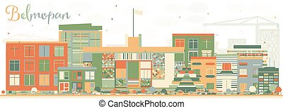 Abstract Belmopan Skyline with Color Buildings.