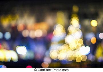 abstract, benevelde achtergrond, kerstboom, van, bokeh, licht