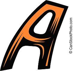 Dynamic oblique letter - Abstract bicolor alphabet. Dynamic...
