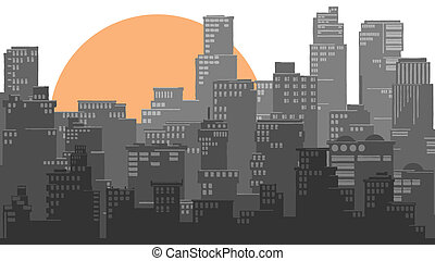Abstract big city and sun.