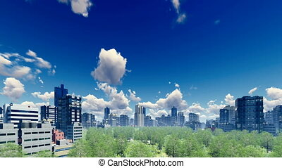 Abstract big city district at daytime 4K - Abstract big city...