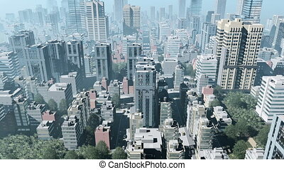 Abstract big city downtown Aerial view 4K