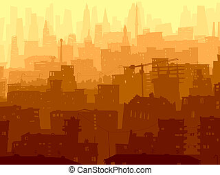 Abstract big city in sunset.