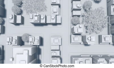 Abstract big city white scale model aerial view 4K