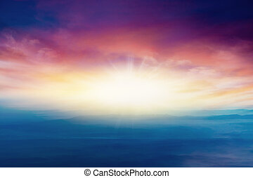 Abstract big explosion . Light from sky . Religion background .
