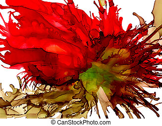 Abstract big heather green and red splash