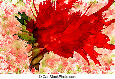 Abstract big red flower on texture