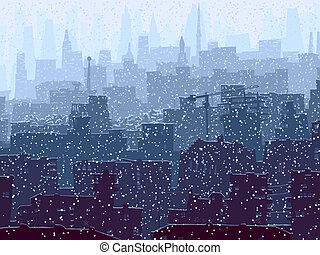 Abstract big snowy city. - Vector abstract illustration of ...