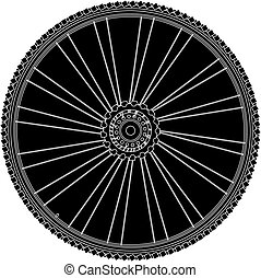 abstract bike wheel with tire and spokes