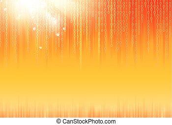 Abstract binary code on orange background of Matrix style. Vector illustration.