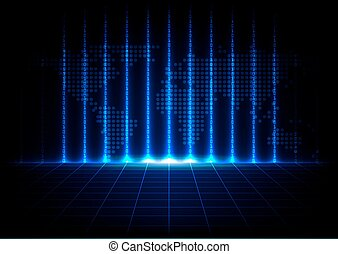 abstract binary code with map technology design background