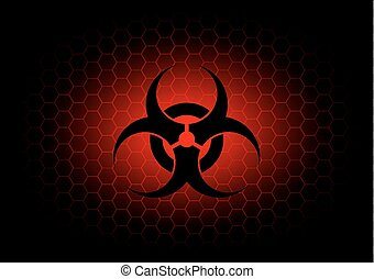 Abstract biohazard symbol dark red