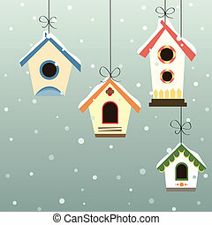 Abstract bird house set with winter background